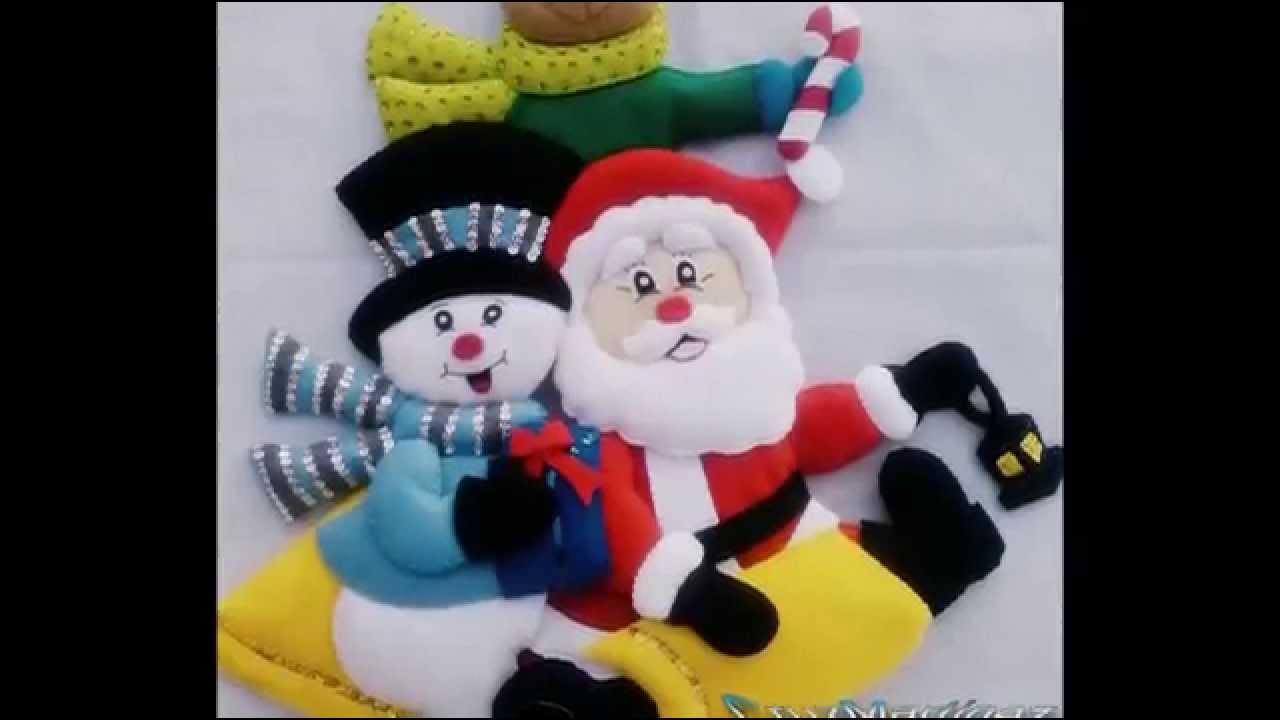 La navidad en fieltro youtube - Figuras fieltro navidad ...