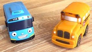 Машинки Спиди и Бас - Автобус Тайо и мини купер. Мультфильмы и игрушки для детей