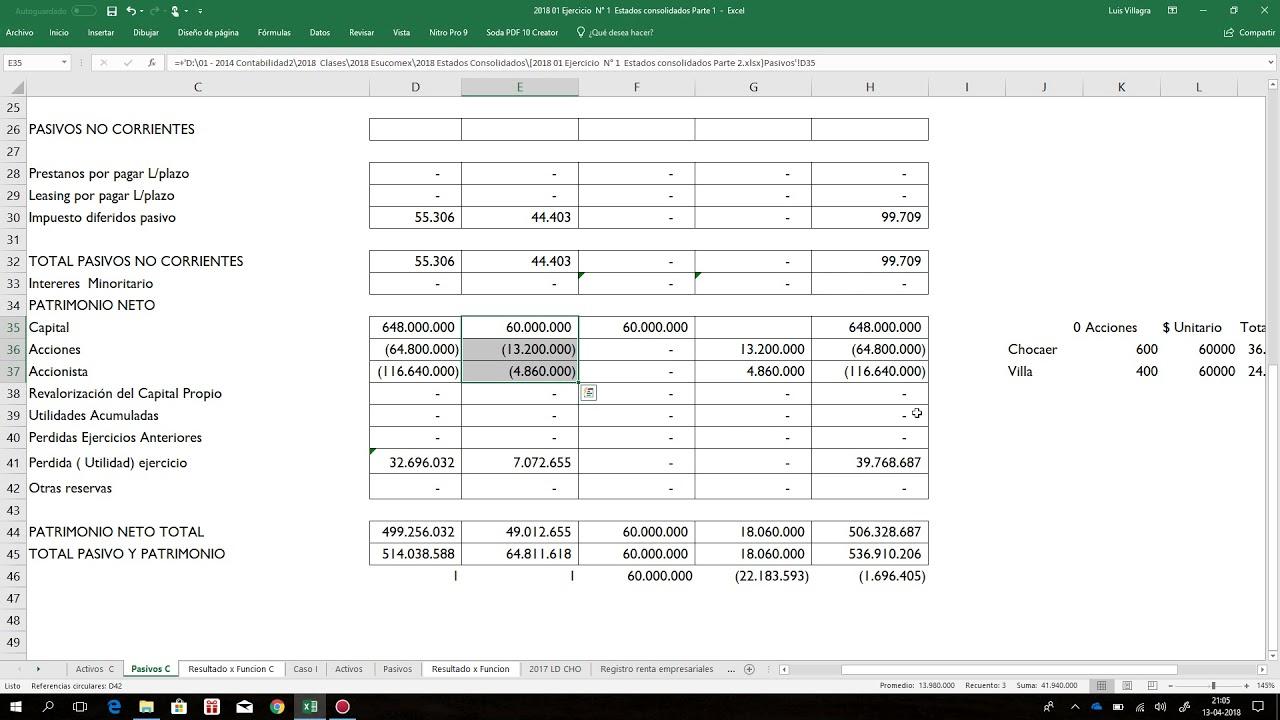 IFRS NIC 27 EStados Consolidados Ejercicio Practico planilla Excel ...