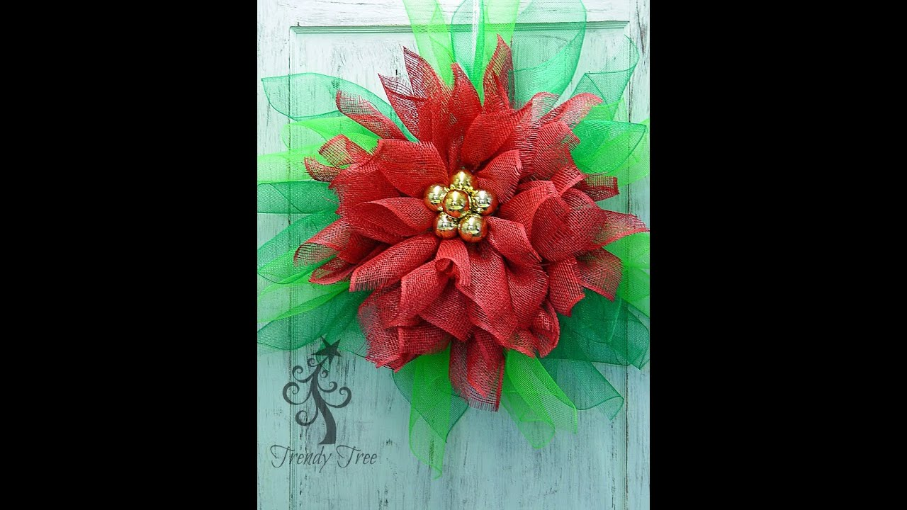 Poinsettia Wreath Tutorial By Trendy Tree Youtube
