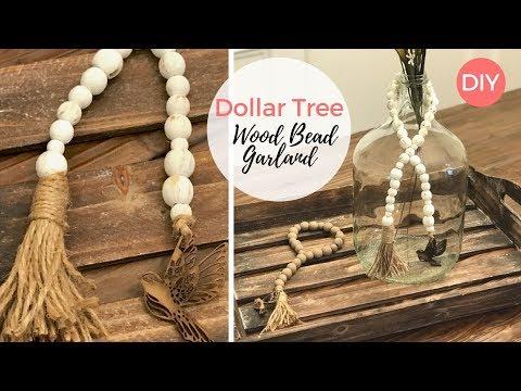 Wooden Bead Garland DIY  | Dollar Tree DIY | Farmhouse Decor | Budget Friendly | Ashleigh Lauren