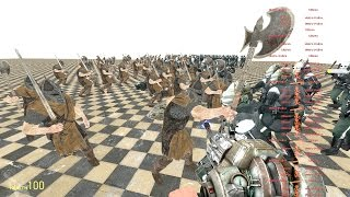 100 Skyrim Guards vs 100 Metrocops in Garry's Mod