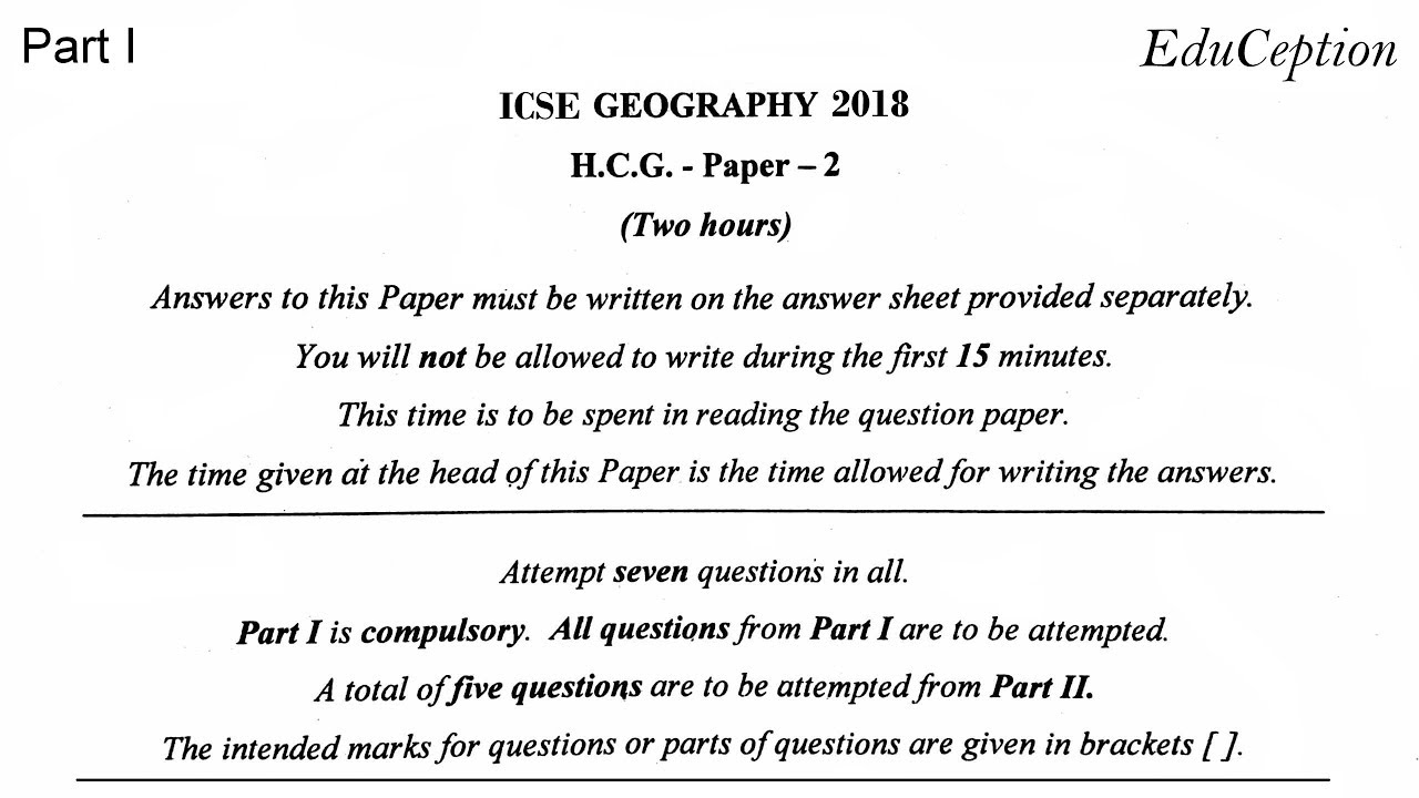 ICSE 2018 Geography Solved Question Paper
