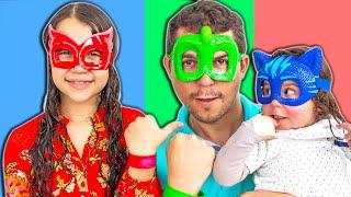 SARAH FINGE BRINCAR com o PAPAI e ELOAH de Super-Heróis