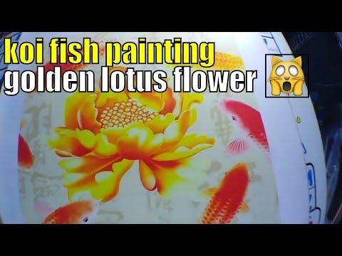 9 koi fish painting golden lotus flower chinese calligraphy painting
