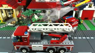 LEGO CITY FIRE STATION 60004(A big new fire station with 3 vehicles: fire truck, fire van and a fire helicopter. It has 752 pieces and 5 Minifigs. http://youtu.be/l6_DBetMgEk (New Version), 2013-05-17T19:41:19.000Z)