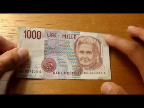 Italian 1000 Lira Banknote - 1990