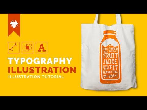 Inkscape Tutorial : Create Typography Illustration - Juice Bottle
