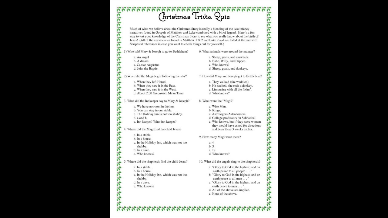 fun christmas trivia questions - Fun Christmas Trivia