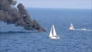 Yacht on fire. Malta.