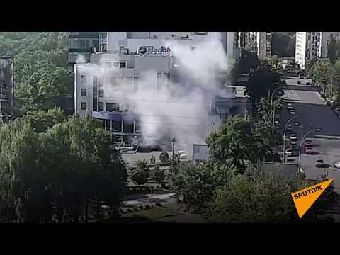 Кадры взрыва автомобиля в Киеве