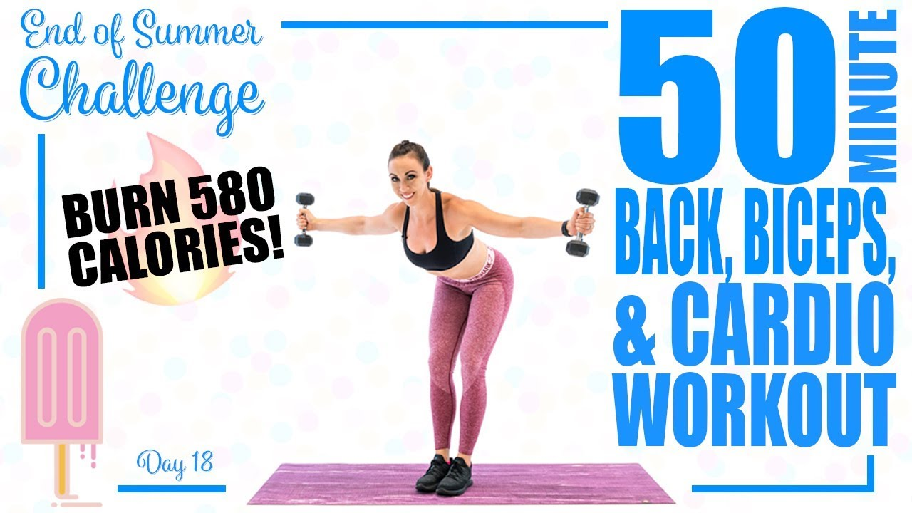 50 Minute Back Biceps and Cardio Workout 🔥Burn 580 Calories! 🔥