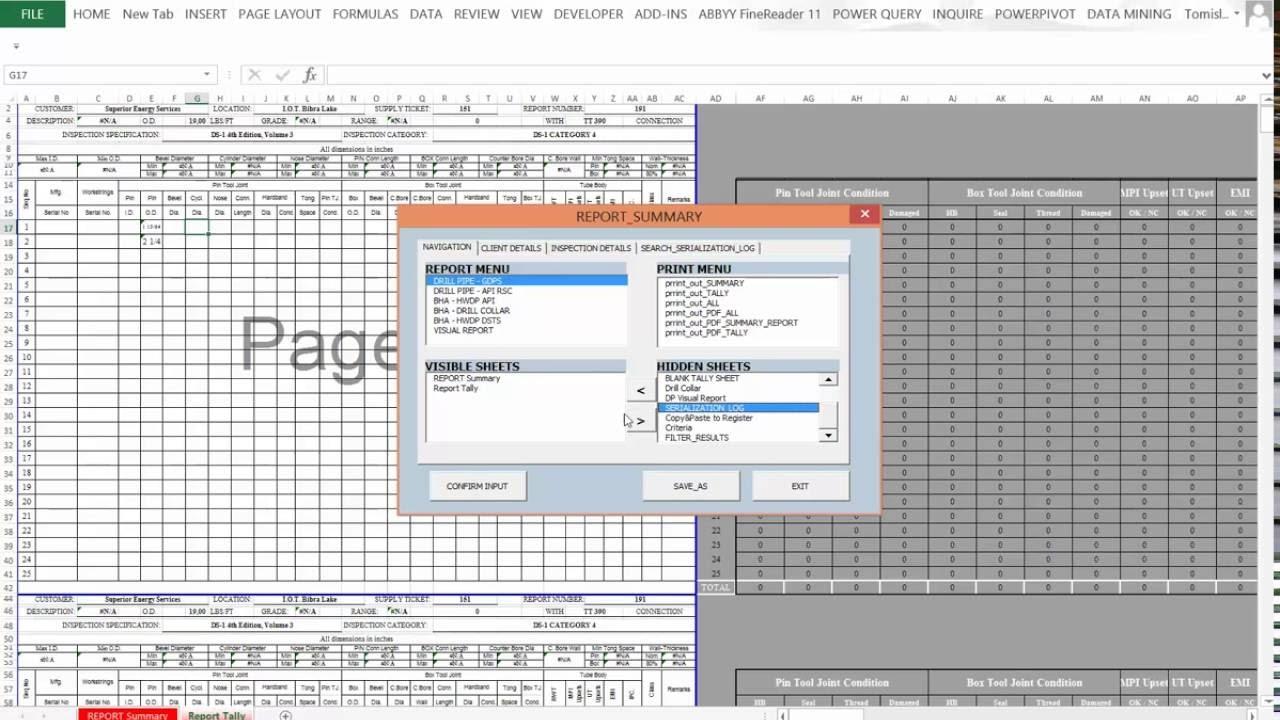Win 8 tablet / Wireless digital caliper / Excel VBA workbook ...