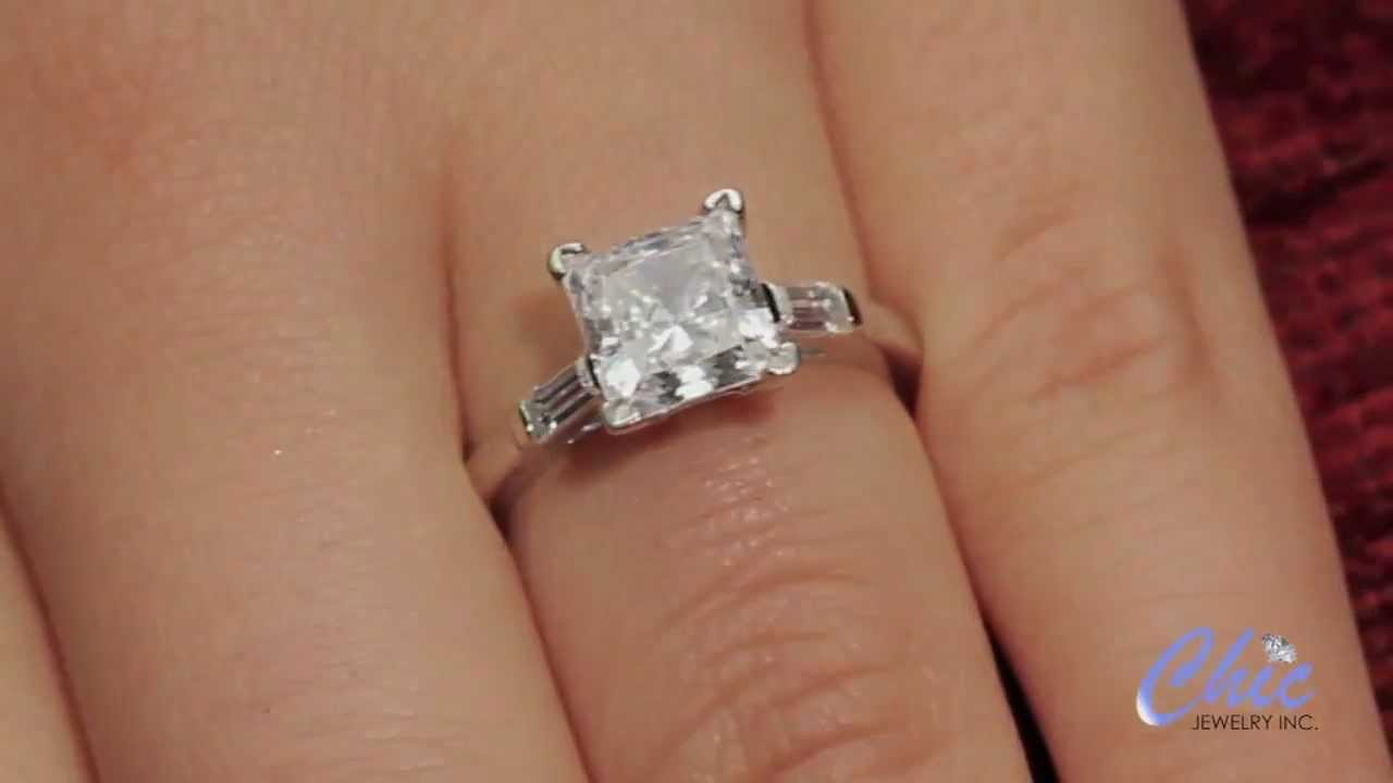 Lucida Style Princess Cut Engagement Ring 0 30 Carat G VS1