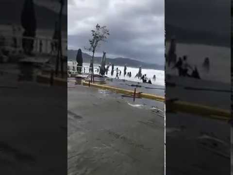 LIVE From Greece, Hugh Waves Cyclone in Kalamata, Peloponnese - 29 September 2018