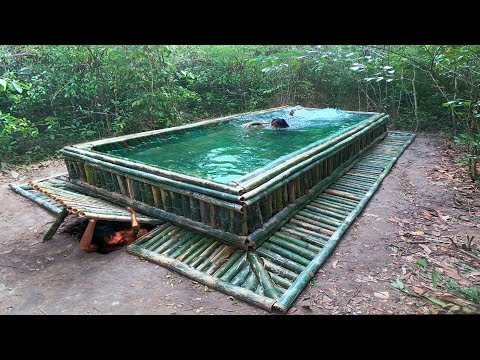 Building The Most Beautiful Swimming Pool On The Underground House By Bamboo
