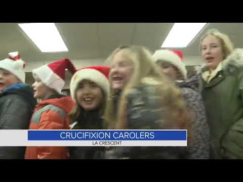 Little carolers from Crucifixion school take to the streets of La Crescent