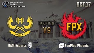 GAM vs FPX | GROUP STAGE Day 5 H/L 10.17 | 2019 Worlds Championship