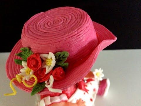 Fondant hat: Hat for a doll: Cake decoration: Fondanthut: Birthday cake for baby girl