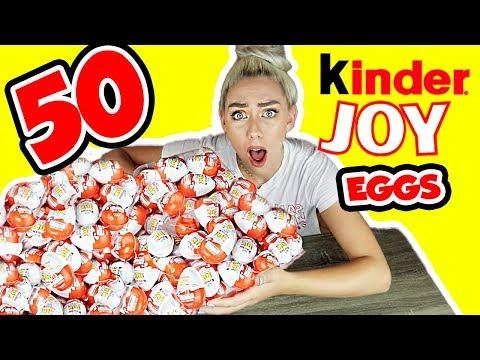 UNBOXING 50 KINDER SUPRISE JOY EGGS! SUPER RARE KINDER TOY FINDS?!