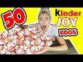 UNBOXING 50 KINDER SUPRISE JOY EGGS! SUPER RARE KINDER TOY FINDS?!
