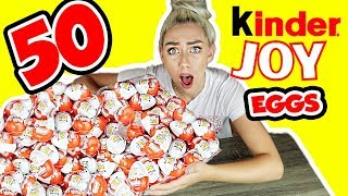 UNBOXING 50 KINDER SUPRISE JOY EGGS! SUPER RARE KINDER TOY FINDS?! | NICOLE SKYES