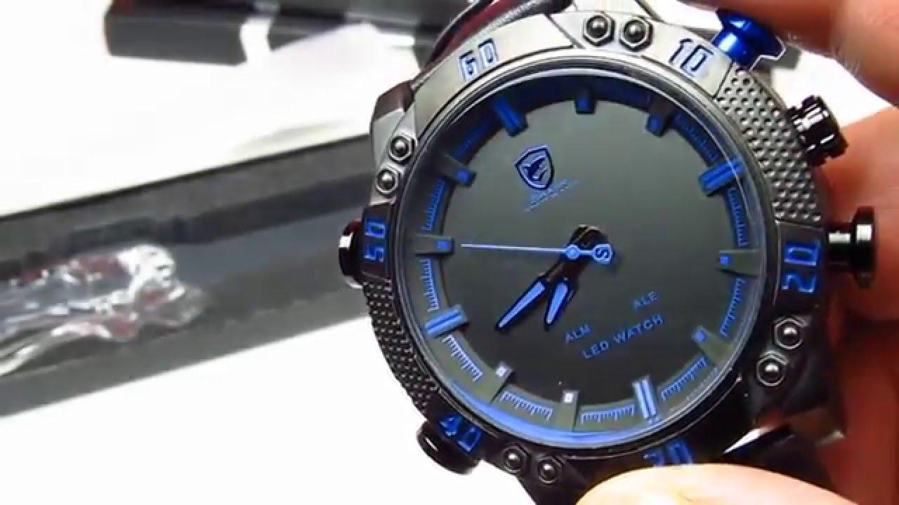 fc7413945140 Мужские часы SHARK LED Digital Blue Sport Watch (Обзор) - YouTube