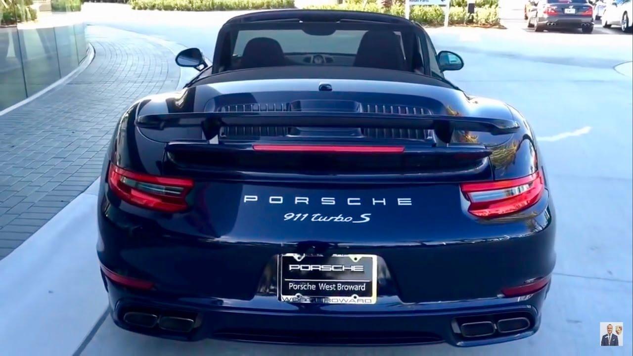 2017 Night Blue Porsche 911 Turbo S Cabriolet 580 Hp West Broward