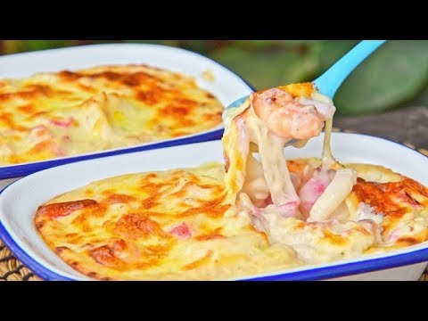 Seafood Baked Rice - Canto-Western Chachaanteng Cheesy Baked Fried Rice (白汁芝士海鲜焗饭)