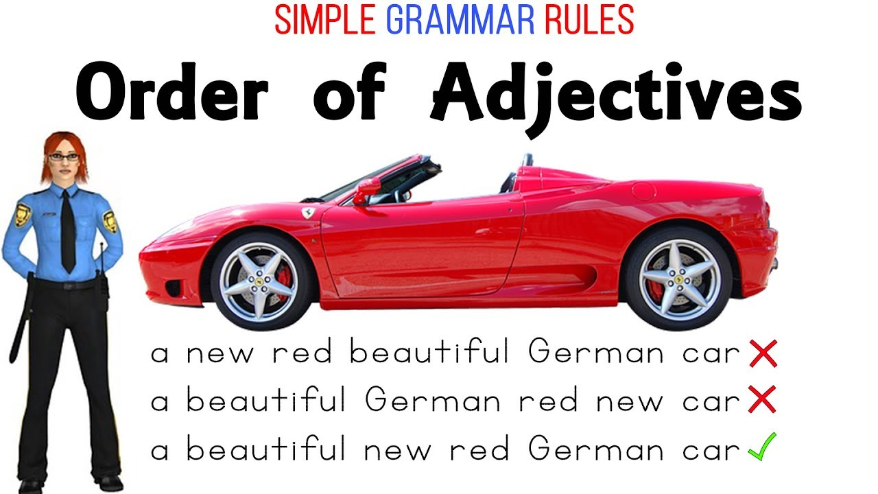 Order of Adjectives English Grammar Lessons and Worksheets - YouTube [ 720 x 1280 Pixel ]