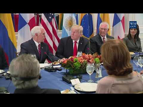 President Trump Attends a Working Dinner with Latin American Leaders