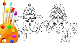 How to Draw LORD Maa LAXMI Pujan & GANPATI Bappa  | Diwali Festivals Special For Kids