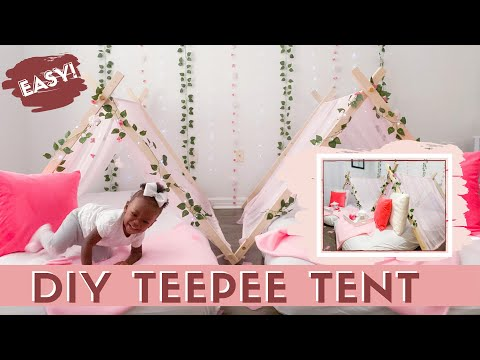 DIY WITH ME | Easy Teepee Tent; Sleepover, Glamping, Slumber Party Decoration Ideas!!!