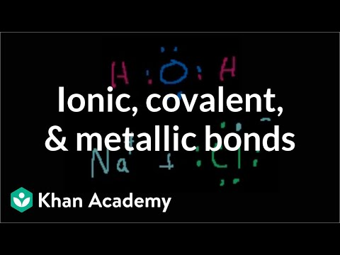 Ionic, covalent, and metallic bonds | Chemical bonds | Chemistry | Khan Academy