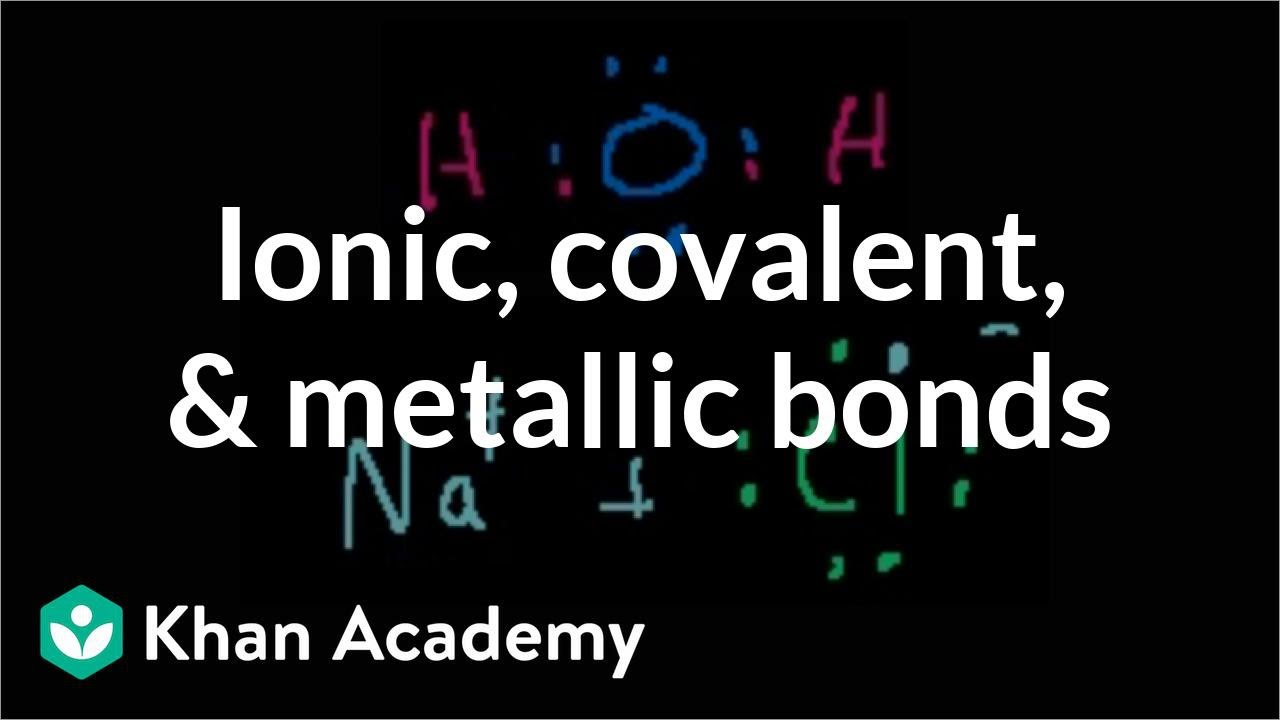 Ionic, covalent, and metallic bonds (video) | Khan Academy