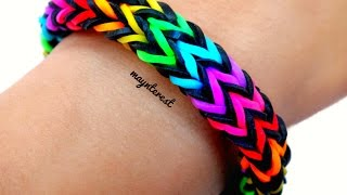 Repeat youtube video PULSERA de GOMITAS Zigzag multicolor (con telar) | BRACELET