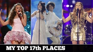 Eurovision SEVENTEENTH PLACES (2000-2017) | My Top 18
