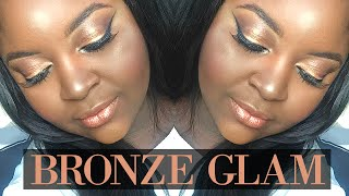 spring summer glowy bronze glam makeup tutorial   morphe 35o   dark skin