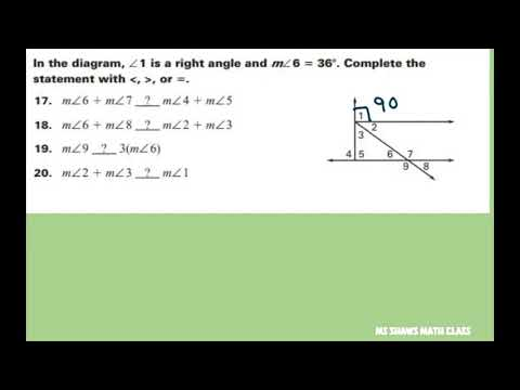Given a diagram with given angles state whether statements should include on