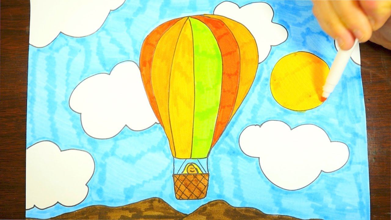 HOW TO DRAW A HOT AIR BALLOON  KIDS  YouTube
