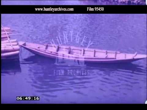 Thailand.  Log Rafts on the River Kwai, 1970s - Film 95450