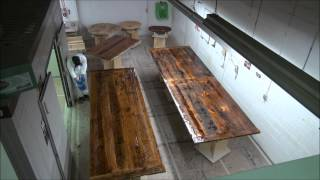 Time-lapsed Epoxy Process On Reclaimed Wood Tables