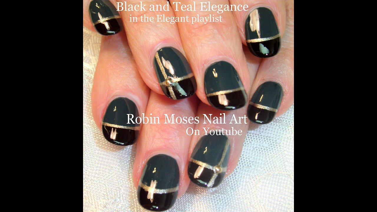 Cute Nails Nail Art Design For Beginners Teal Black And Gold