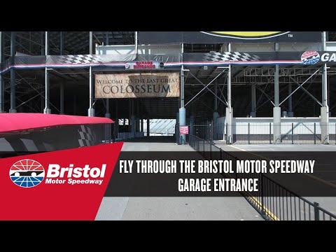 Fly through the Bristol Motor Speedway Garage Entrance
