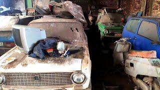 В заброшеном цеху НАШЛИ 30 советские автомобили газ 21 газ 22 газ 24 заз москвич ока ваз 21013