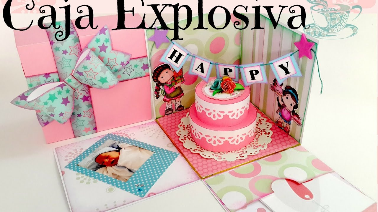 Cumpleaños Dulce Manzana Caja explosiva de Cafe Arte y Scrap YouTube