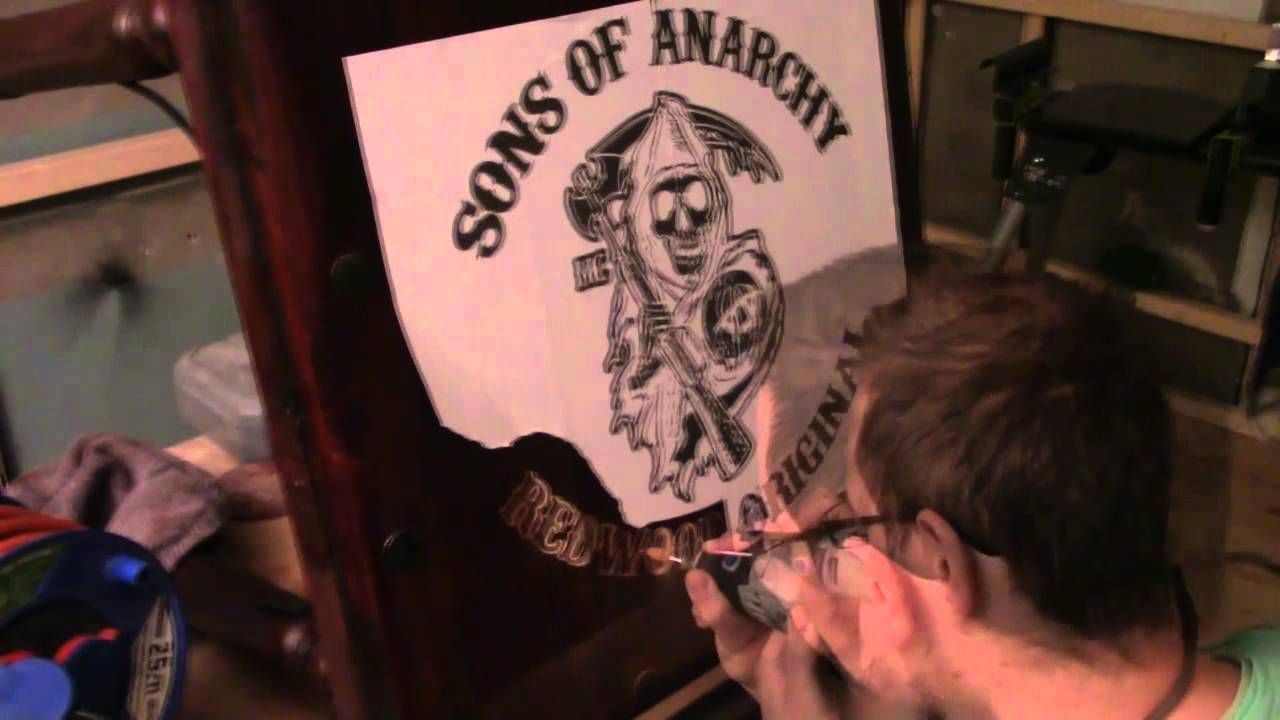 Sons Of Anarchy Wood Carving Table And Plack Youtube