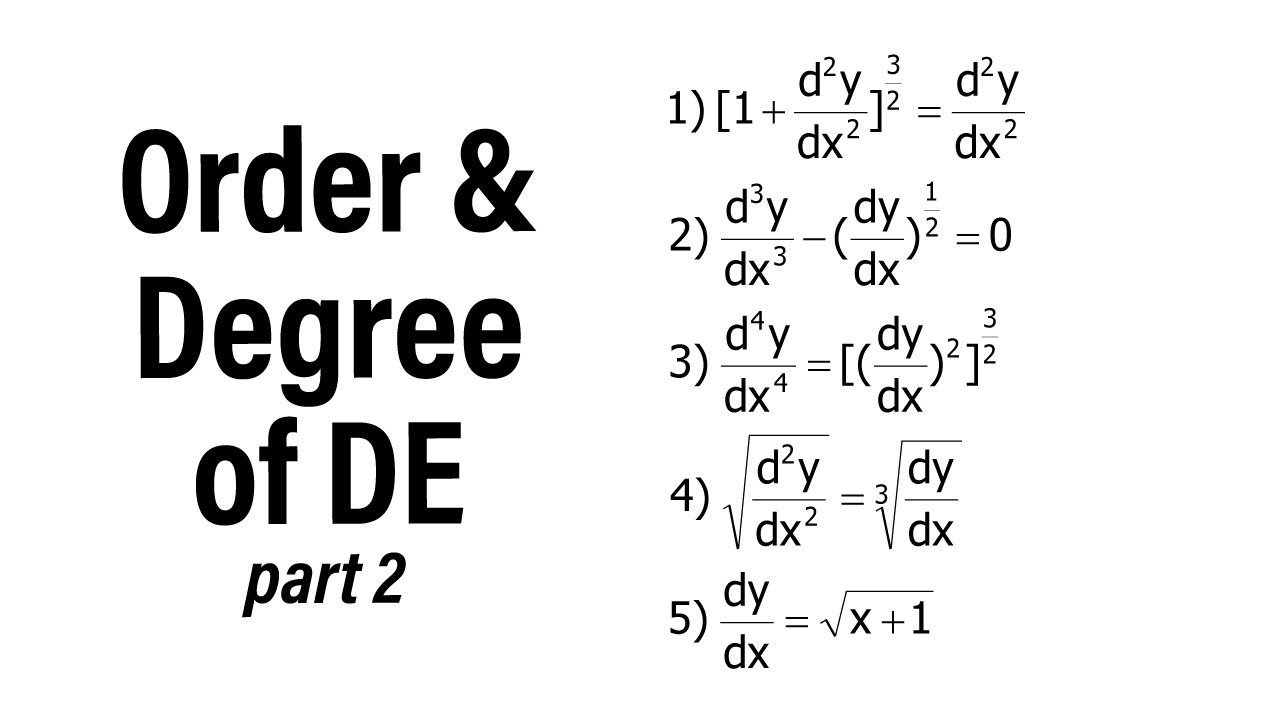Order & Degree of Differential Equation (Polynomial