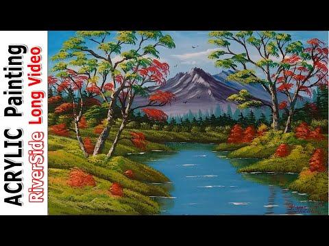 Akrilik ile Manzara Resmi Nasıl Yapılır -4 İLKBAHAR da DERE KENARI (Acrylic Painting Techniques)