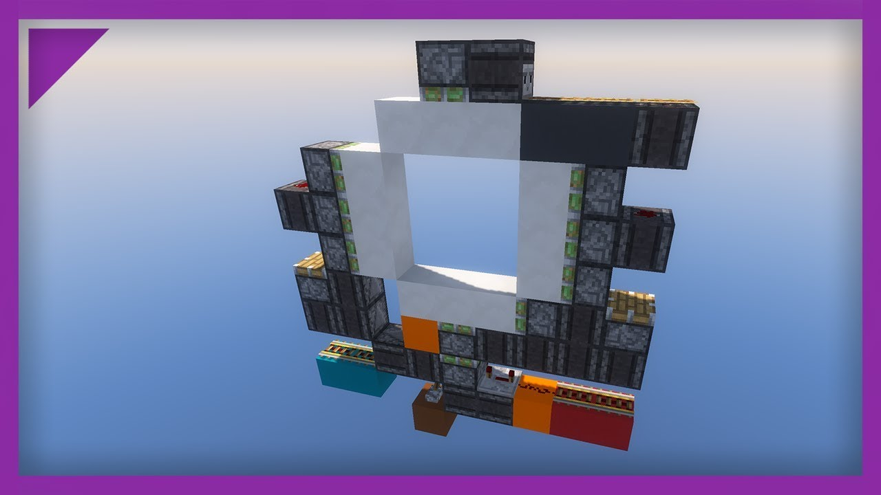 minecraft 1 wide 3x3 piston door tutorial youtube